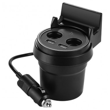Автозарядка черная 2хUSB 2 прикуривателя + держатель телефона Hoco UC207