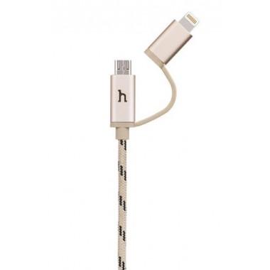 USB кабель золотой 1.2 м для microUSB/iPhone 8 pin Hoco UPL20