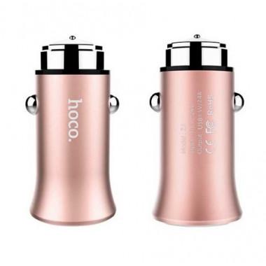 Адаптер в прикуриватель розовое золото 1хUSB 2.4А Hoco Titan Z8