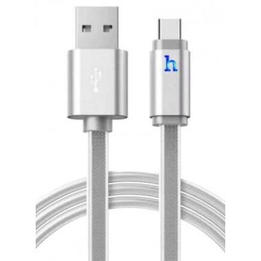 USB кабель серебристый 1.2 м Type-C Hoco UPL12