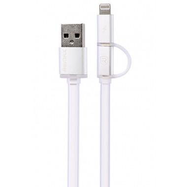 USB кабель microUSB/Lightning 8 pin белый REMAX AURORA