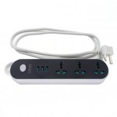 Фильтр сетевой 3 розетки 3 USB 1.6м черный LDNIO SC3301