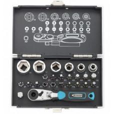Набор бит и головок торцевых 1/4' магнитный адаптер сталь S2 пластиковый кейс 26 предметов Gross 11361