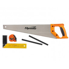 Набор столярный 5 предметов - 2 карандаша ножовка 450 мм рулетка угольник строительный Sparta 23902