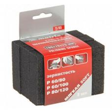 Губка для шлифования мягкая 3 штуки P60/80 P60/100 P80/120 100х70х25 мм MATRIX 75705